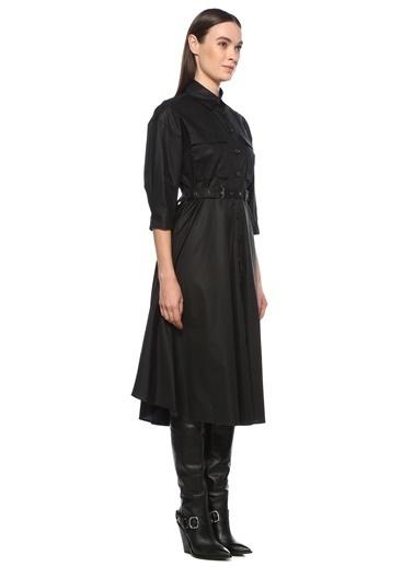 NetWork Kadın 1076002 Basic Fit Beli Kemerli Midi Elbise Siyah